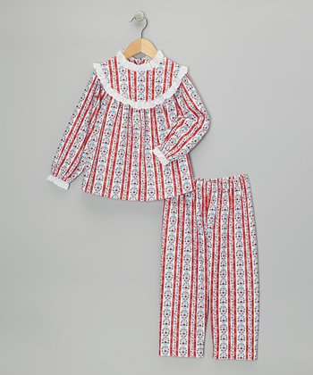 Red Tyrolean Pajama Set - Girls