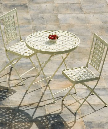 White Cast Iron Three-Piece Dining Set