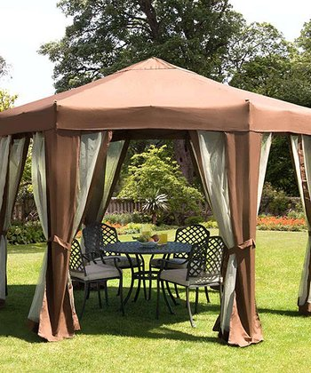 Beige Tenterden Hexagonal Folding Gazebo