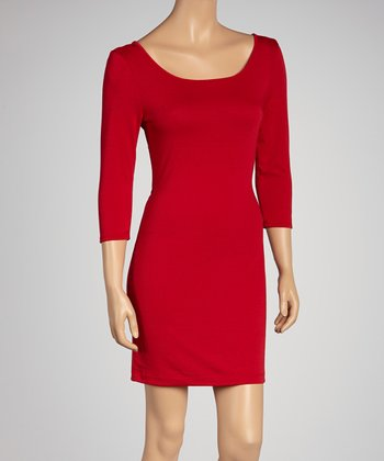 Red Scoop Neck Dress
