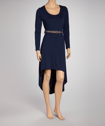 Navy Belted Hi-Low Dress