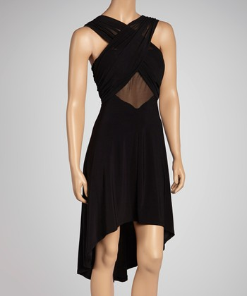 Black Crisscross Hi-Low Dress