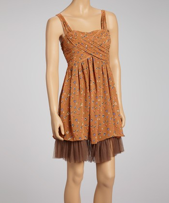 Dusty Orange Floral Cross-Front Dress