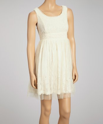 Cream Lace & Chiffon Sleeveless Dress