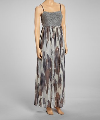 Gray Abstract Maxi Dress
