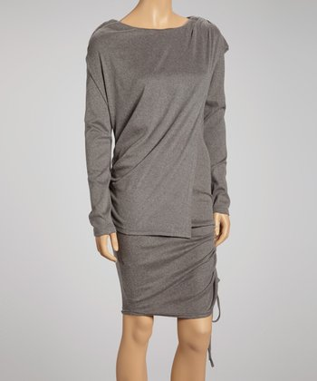 Charcoal Panel Long-Sleeve Dress