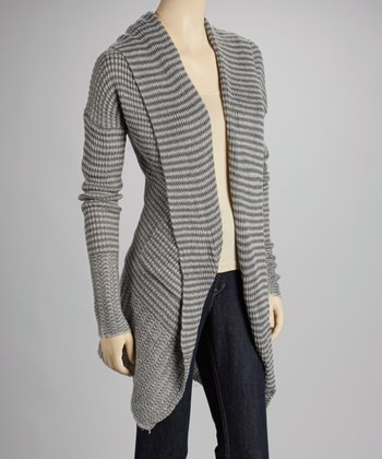Charcoal Stripe Open Cardigan
