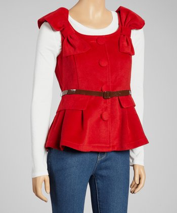 Red Bow Belted Cap-Sleeve Top