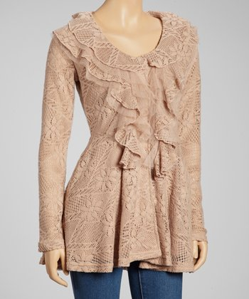 Dusty Peach Ruffle Crocheted Jacket