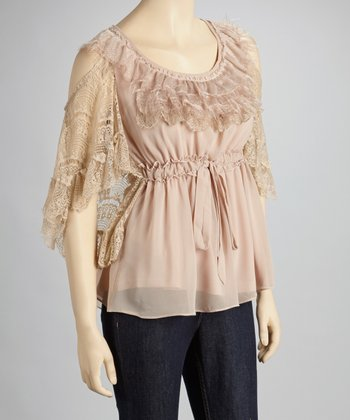 Taupe Ruffle Crocheted Sleeveless Top