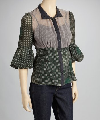 Gray & Green Pin Dot Button-Up Top