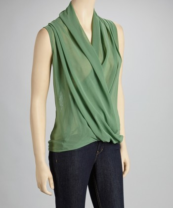 Green Draped Lace Sleeveless Top