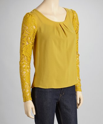 Mustard Lace Sleeve Scoop Neck Top