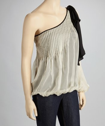 Cream Pleated Asymmetrical Top