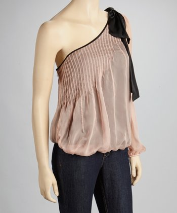 Peach Pleated Asymmetrical Top