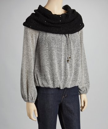 Black & Gray Color Block Long-Sleeve Top