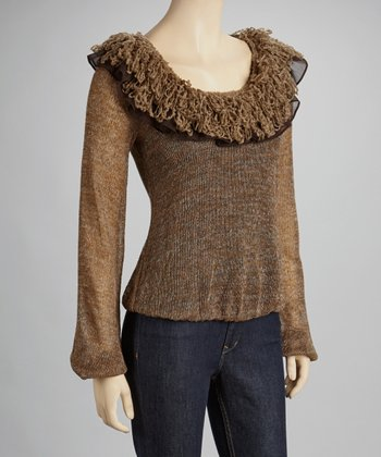 Brown Ruffle Scoop Neck Top