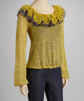 Yellow Ruffle Scoop Neck Top