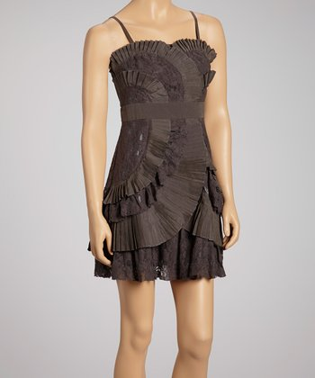Charcoal Pleated Curves & Lace Dress