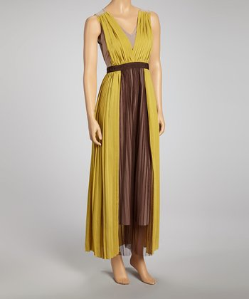 Avocado & Brown Pleated Color Block Maxi Dress