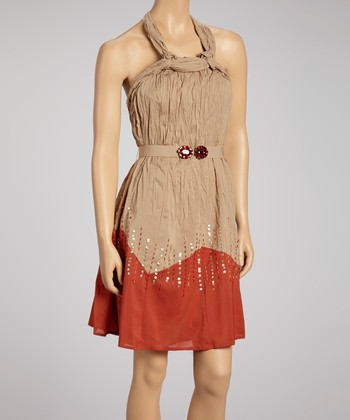 Beige & Burnt Orange Crinkle Halter Dress