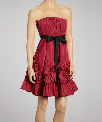 Fuchsia Ruffle Strapless Dress