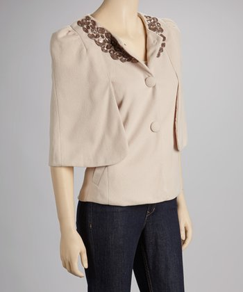 Beige Beaded Cape-Sleeve Jacket