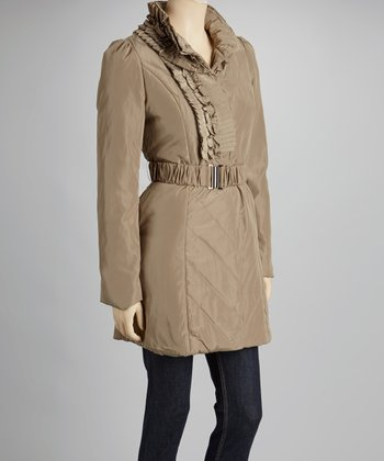 Khaki Ruffle Collar Coat