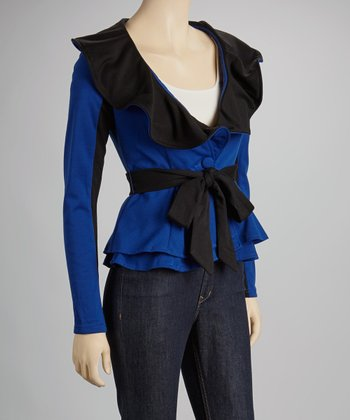 Blue & Black Ruffle Color Block Jacket