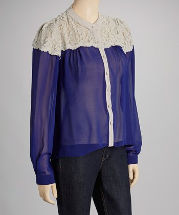 Royal Blue & White Lace Shoulder Button-Up Top