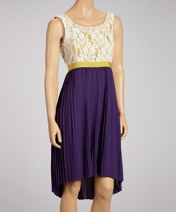 Cream & Purple Pleated Lace Sleeveless Dress