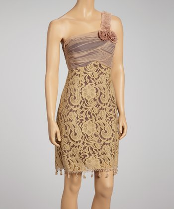 Beige Lace & Pleats Asymmetrical Dress