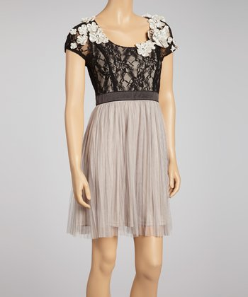Black & Gray Lace Cap-Sleeve Dress
