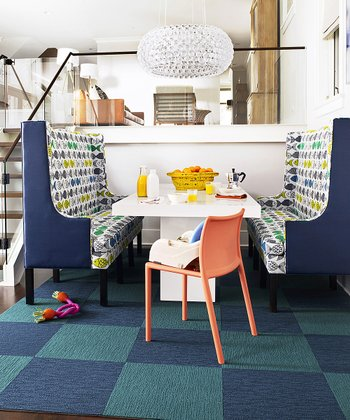 Turquoise & Cobalt Checkerboard Rug Square Set