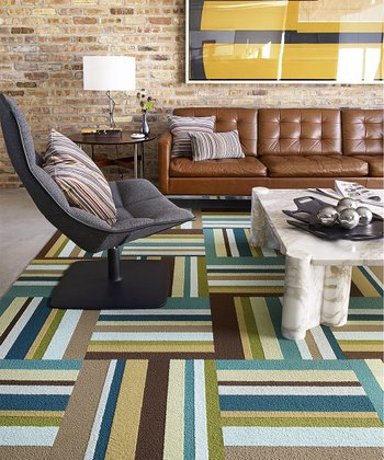 Green Parallel Reality Rug Square Set