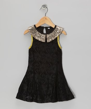 Black & Gold Sparkle Collar Dress - Toddler & Girls