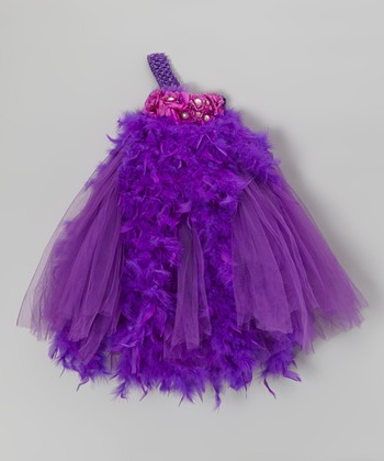Purple Feather Asymmetrical Dress - Infant & Toddler