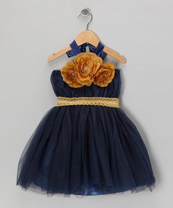 Navy & Gold Convertible Tutu Dress - Infant, Toddler & Girls