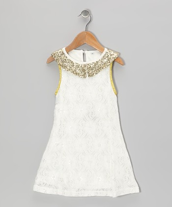 White & Gold Sparkle Collar Dress - Toddler & Girls