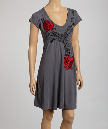Gray & Red Rose Shirred Empire-Waist Dress - Women