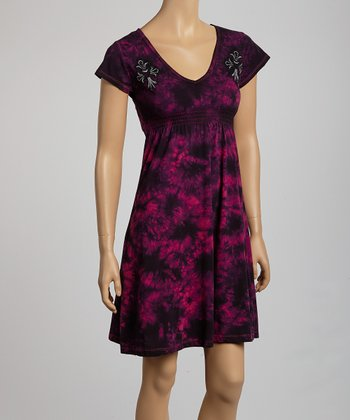 Black & Fuchsia Tie-Dye Shirred Empire-Waist Dress - Women