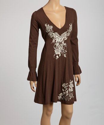 Brown & Cream Rose Long-Sleeve Dress - Women
