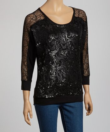 Black Sequin Long-Sleeve Top - Women