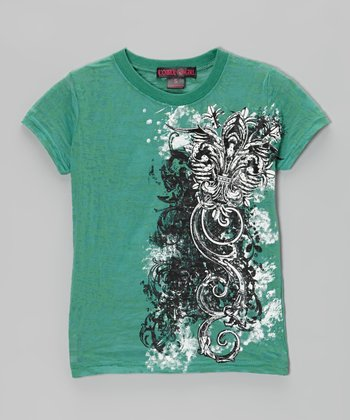 Teal Flourish Short-Sleeve Top - Girls