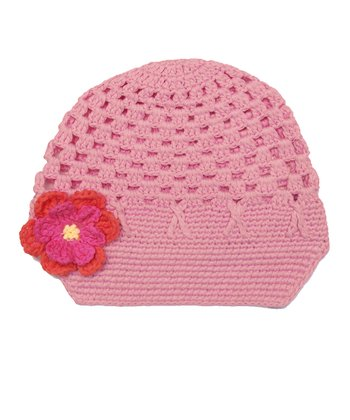 Light Pink Flower Crochet Brimmed Beanie