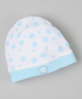 White & Blue Star Beanie