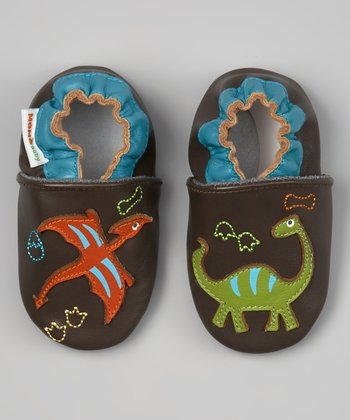 Brown & Blue Dinosaur Leather Booties
