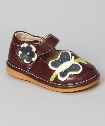 Burgundy & Navy Butterfly Squeaker Mary Jane