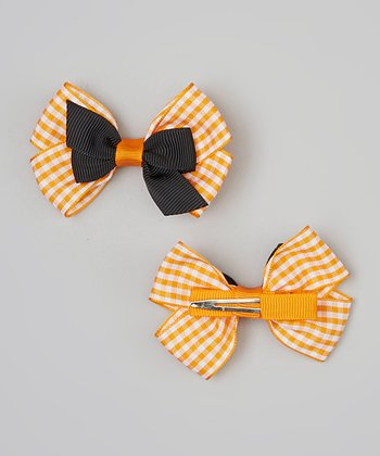Orange & Black Gingham Bow Clip Set