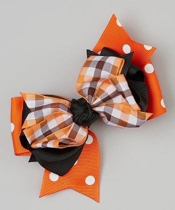 Orange & Black Plaid Bow Clip